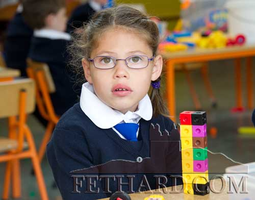 Kate Murphy enjoying her first day at Holy Trinity National School