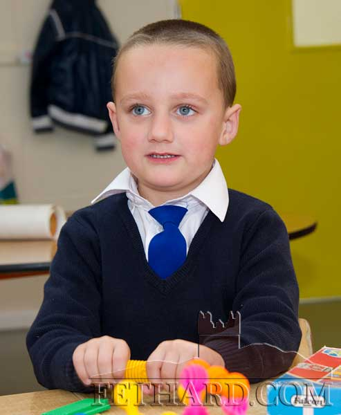 Jake Fox enjoying his first day at Holy Trinity National School