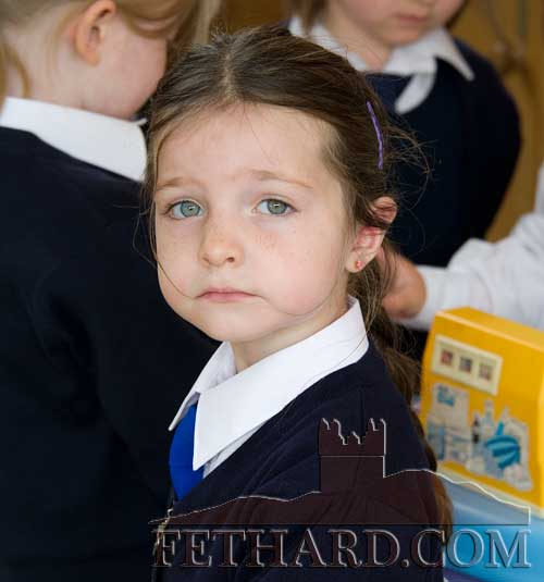Angel Louise O'Reilly enjoying her first day at Holy Trinity National School