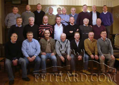 Members of the Fethard teams of 1978 and 1984 honoured by The Nationalist, County Board and the Park Hotel at a function on Sunday, November 6, in the Park Hotel Clonmel. Back L to R: Paschal Hanrahan, Kevin Ryan, Tom Ryan, Sean Moloney, Sean Aylward, Gerry Fogarty, Jimmy O'Shea, Davy Fitzgerald, Liam Connolly, Tommy Sheehan. Middle L to R: John Keane, Davy Morrissey, Dinny Burke, Anthony Colville, Joe Allen, Waltie Moloney, Gerry Harrington. Front L to R: Michael Healy, Buddy Fitzgerald, Richie Hayes, Seamus Hackett (representing his son Dermot), John Hackett, Michael Kenrick and Paddy Kenrick.
