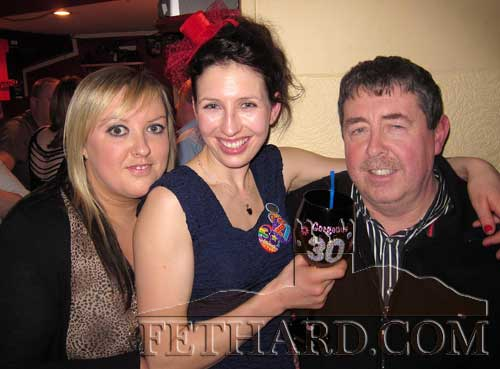 Nadine Forde (centre) photographed on the occasion of her 30th Birthday with Anne Marie Butler and Philip Butler where she celebrated her birthday in Fethard on Saturday night last. Nadine is a former world champion jockey and is now working with Eddie O'Grady
