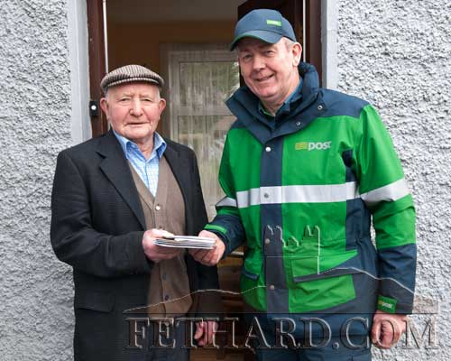 Jimmy Walsh, Kilconnell, Fethard, photographed on the occasion of his 90th birthday with local postman John Fogarty who delivered all his birthday cards and good wishes.