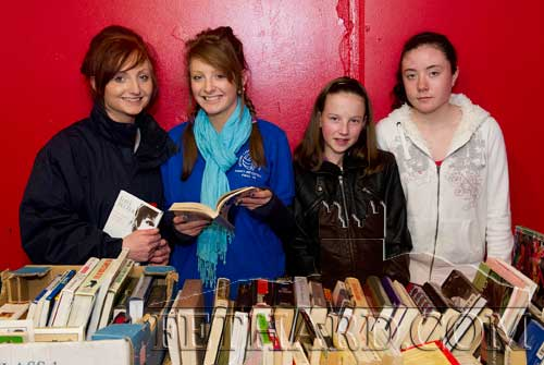 Helping at the Fethard Historical Society's stall at the Tipperariana Book Fair in Fethard Ballroom are L to R: Rachael Prout, Annie Prout, Sarah O'Donnell and Kate O'Donnell