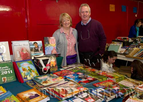 Rose and Denis O'Donovan, Clonmel and originally from Fethard, photographed at their stall at the Tipperariana Book Fair in Fethard Ballroom