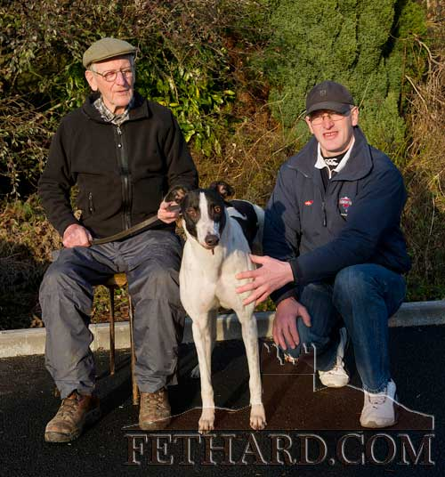Billy Morrissey and his son John, Tullamaine, Fethard, all set for National Coursing Meeting with their dog 'Cloverhill Sam' which runs in the Boylsports.com Derby