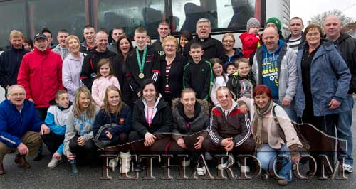 Irish Champion, Jack Connolly, photographed with some of the crowd who turned out to greet him on his return to Fethard last Saturday, March 12.
