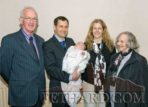 Members of the Healy family who travelled home to Fethard from Plymouth, England, to christen their grandchild /daughter, Layla. L to R: Tommy Healy, Troy Mitchel with daughter Layla, Kathleen (Healy) Mitchel and Julia Healy.