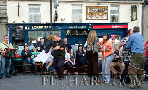 Dancing a 'Siege of Ennis' outside Lonergan's Bar on the Square, Fethard, celebrating Arthur's Day on Thursday, September 22.