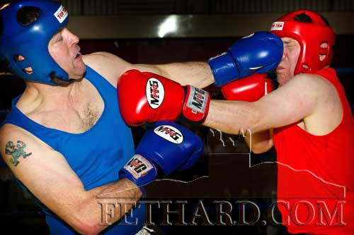 In the last match of the Boxing Night Fundraiser, Jimmy O'Brien used his jab to great effect to keep Paul Scully at a distance. All boxing event photographs supplied by Kieran Butler.