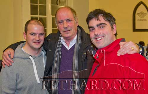 Don McCarthy (centre) photographed with his two nephews, Conor McCarthy (left) and Ian O'Connor at the Christmas Carol Service at Holy Trinity Church of Ireland on Sunday night