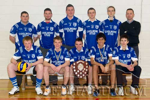 Fethard Patrician Presentation Volleyball Team All-Ireland Senior B Boys Champions. Back L to R: Sean Whyte, Andrew Maher, Cathal Hurley, Gerry Horan, Tony Myler, Justin McGree (coach). Front L to R:  Eoghan Hurley, Ronan Fitzgerald, Dion Butler (captain), Joao Paulo Malheirios and Niall Doocey. Missing from photo is Michael McCarthy.