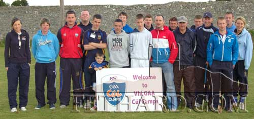 Eoin Kelly, captain Tipperary Senior Hurling Team, photographed with coaches and helpers at Fethard GAA Cúl Camp last week