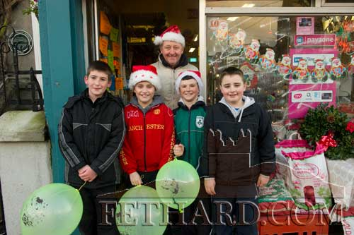 Photographed at the 'Local Hero' Festive Day in Fethard last weekend are L to R: Adam Dorney, Cian O'Brien, John Morrissey (XL Grocery Shop), Conor Harrington and Ross Mullins.