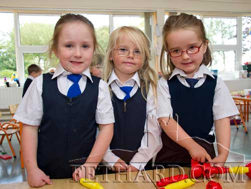 First day at school at Holy Trinity National School L to R: Aoibheann Collum, Lucy Burke Lawrence and Róisín Geoghegan