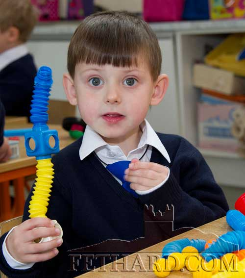 Joshua Hall enjoying his first day at at Holy Trinity National School