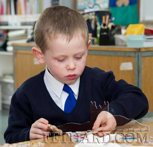 Cian Murray enjoying his first day at Holy Trinity National School