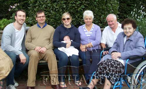 Barbara Jones sent us this photograph of her 'five-generation' family living over in Sussex, UK. L to R: Neil (Erin's dad), David (her son), Sally (her granddaughter), Erin born 16th July 2011 on Sally's lap (her great granddaughter), Barbara Jones (great grandmother) her husband Chris Jones (great grandfather), her mother Margaret Holdsworth (great-great grandmother and daughter of Catherine Cummins).