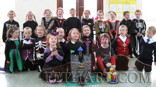 Children from Holy Trinity National School photographed at their Halloween, 'Don't Waste, Create' art competition