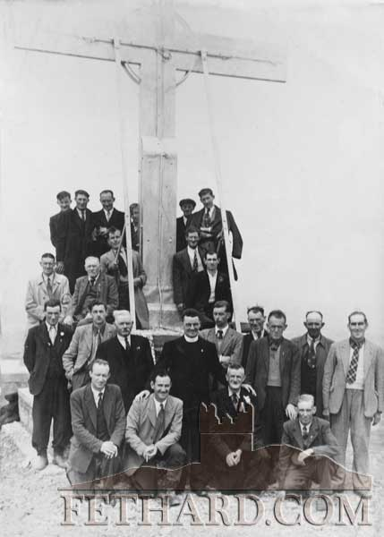 Group of Killusty men photographed at Holy Year Cross with Fr. Hogan in the 1950s. This year's pilgrimage takes place on Sunday, August 14, at the earlier time of 1pm in order to be back in time to see the Tipp v Dublin All-Ireland hurling semifinal