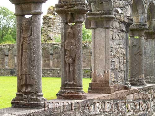 The chief delight of Jerpoint Abbey is the sculptured cloister arcade with unique carvings. The tower and cloister date from the 15th century.