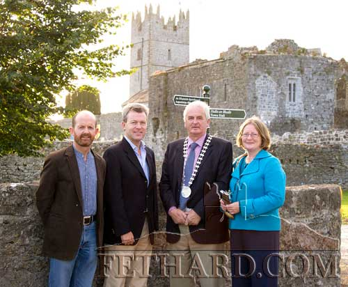 Photographed at the launch of Fethard Historic Town Trail are L to R: Colm McGrath, chairman Fethard Historical Society; Gary Breen, Manager of Fáilte Ireland South East; Cllr Liam Ahearne, chairman South Tipperary County Council; and Eileen Horgan, Community & Enterprise, South Tipperary County Council.