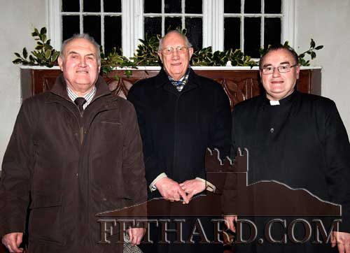 Photographed at the Candlelight Servica at Magorban Church are L to R: Michael Nuttall, Rev George Knowd and Dean Philip Knowles
