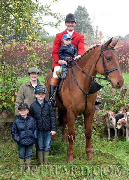 Huntsman Derry Donegan photographed with his daughter Lauren on horse and his wife Wendy with their sons Sam and Thomas at the Opening Meet of the Tipperary Foxhounds in Fethard on Monday, October 31.