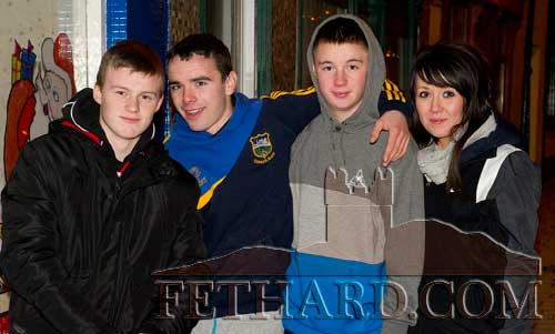 Enjoying New Year's Eve in Fethard are L to R: Jack Connolly, Dion Butler, Kevin Shine and Emma Hayes.
