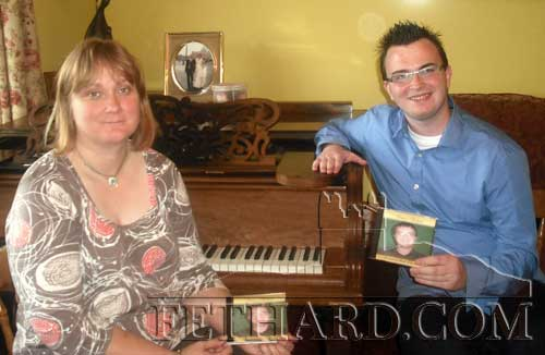 Ann Barry, Tullamaine, Fethard, with her music student Brian Cullivan, on the launch of his new cd, 'Brian's Ballads'. Brian is a pupil of Scoil Chormaic, Cashel and all profits will go to his school. Brian began voice training only a year and a half ago with Ann. The music was recorded in Hosey recording studios, with Ann composing the backing tracks. Cds are now available in all local shops.