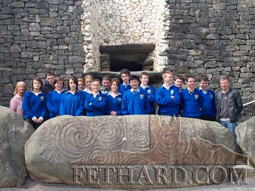 TY students from Patrician Presentation Secondary School, Fethard, photographed on their recent trip to Newgrange, Co. Meath. On the right is Mr. Leonard and on the extreme left is Mrs Marian Gilpin who retired last year, but came as a welcome guest. (Photo: Pat Looby)