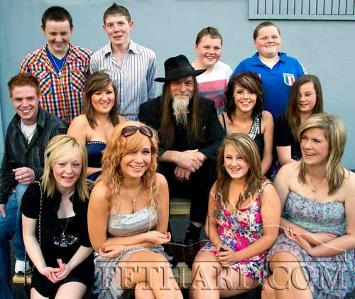 Will Nugent photographed with the cast of 'One By One' at the premier of the film held at Fethard Youth Centre