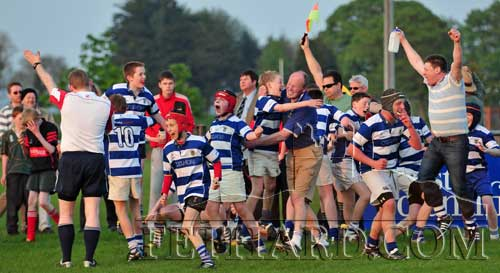 As the referee sounded the final whistle, the Fethard team celebrate their win over Waterpark in the East Munster Cup Final on Friday 29th April 2011. (photos by Kieran Butler)