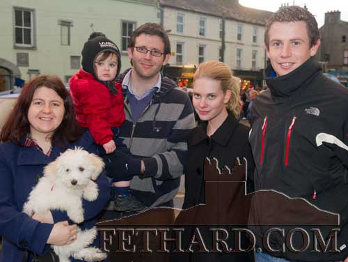 L to R: Noleen Drohan, Aidan Kenny holding his son Jason, Sarah Schylander and Paul Kenny at the 'Local Hero' Festive Day in Fethard