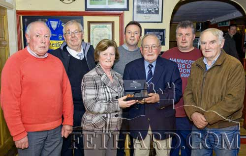 Fethard GAA Club members photographed at the presentation to Nicky O'Shea who retired as club treasurer after 17 years of service. L to R: Austin Godfrey, Gus Fitzgerald, Mary Godfrey, Andy O'Donovan, Nicky O'Shea, Denis O'Meara and Jimmy O'Shea.
