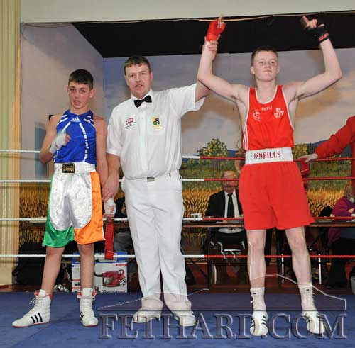 Jack Connolly celebrating his victory over Irish Champion, Lee Reeves (St. Francis) in their 52kg bout in front of his home crowd in Fethard in January last year.