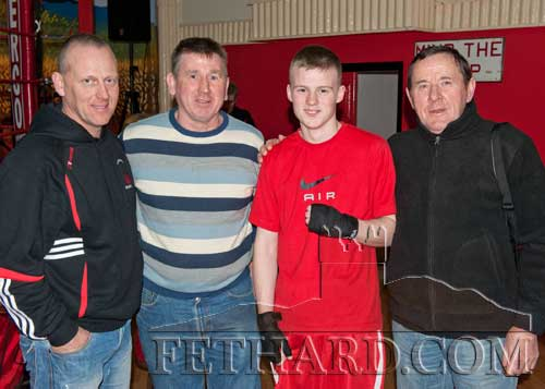 Photographed at the Boxing Tournament at Fethard Ballroom are L to R: William Connolly, Ger Doherty, Jack Connolly and Joe Keane. Fethard and Killusty Community Council will make a presentation to Jack at Fethard Youth Centre this Thursday night.