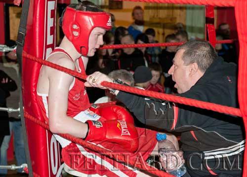 Jack Connolly getting some advice from Martin Fennessy in his corner during his fight in Fethard against Prince Suwali from the Bracken Club in Dublin