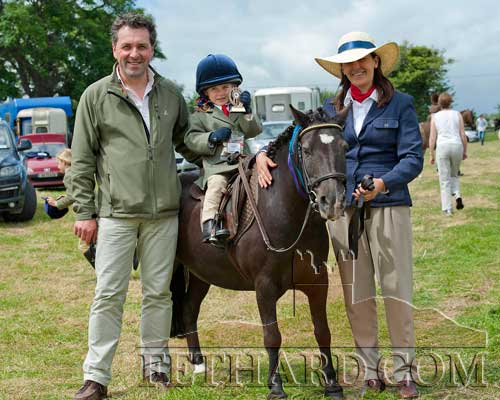 At Killusty Pony Show are L to R: Jean-Marc Moquet, Kiltinan, Tara Moquet on 'Blackie' and Clarisse Moquet-Boisgard