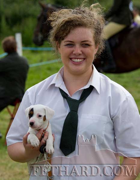 Emma Meagher, Cloneen, with her puppy at Killusty Pony Show