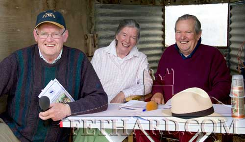 Looking after the public address at Killusty Pony Show are L to R: Pat Holohan, Judy Butler and Christopher Horsman.