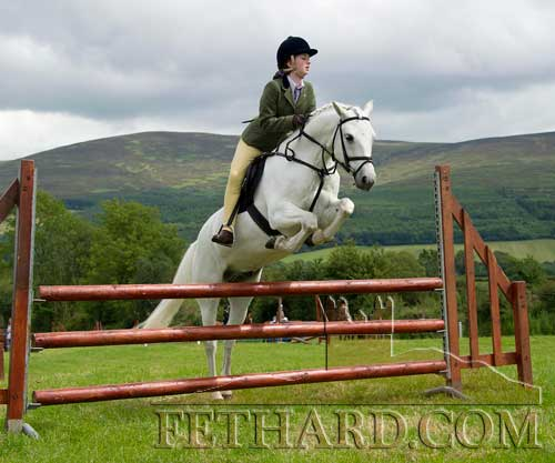 'Killinaskully King' ridden by Sadhbh Springate in Class 80 Performance Jumping at Killusty Pony Show.