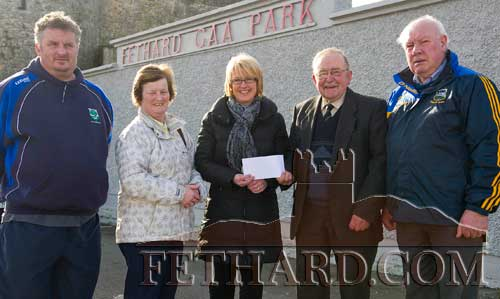 Members of Fethard GAA presenting Fiona Ryan with the club's Lotto Jackpot prize of €5,600 following her recent win in the weekly draw. L to R: Denis O'Meara, Mary Godfrey, Fiona Ryan, Nicky O'Shea and Austin Godfrey. The lotto committee send best wishes to Gus Fitzgerald who is recovering well from his recent surgery.