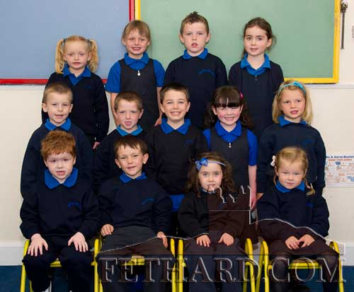 First Day at School at Moyglass National School Back L to R: Ciara Healy, Caoimhe Murphy, John Lacy, Evie Quirke. Middle L to R: Krystof Hofmann, William McCarthy, Jack Burke, Caoimhe O'Connor, Anna Furno. Front L to R: Shane Boland Prendergast, Robert O'Connell Hayde, Orla Tynan Egan and Abbi Browne.