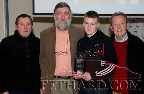 Members of Fethard & Killusty Community Council presenting Jack Connolly with a cheque and plaque to mark his remarkable boxing achievements at national and international level in 2010. L to R: Joe Keane, Joe Kenny (chairman), Jack Connolly and Jimmy Connolly (treasurer).