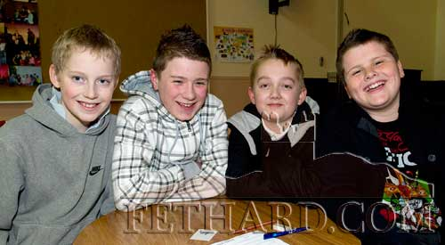Joint second in the Community Games Area Table Quiz finals at Fethard were the team of L to R: Andrew Phelan, Connie Coen, Luke Brastock and Ross McCormack.