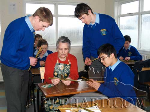 Patrician Presentation Transition Year pupils introduction to Irish Rushwork by Mrs Marie Crean, Fethard. The pupils are photographed making St Bridgid's crosses in preperation for her feast day, Lá Fhéile Bhríde, on February 1st