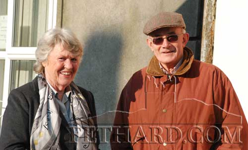 Photographed on Main Street after Sunday Mass are L to R: Kathleen Maher and Dermot Rice. (photo supplied by John Kenrick)