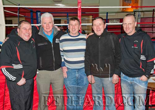 Photographed at the Boxing Tournament at Fethard Ballroom are L to R: Martin Fennessy, Thomas 'Busty' Conway, Sean White,  Joe Keane and William Connolly