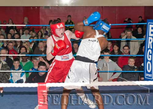 Jack Connolly in action against Prince Suwali from the Bracken Club in Dublin