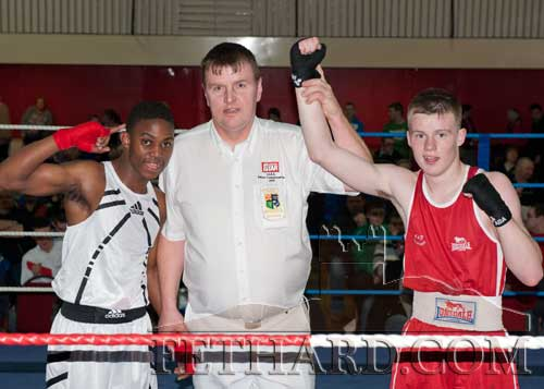 Jack Connolly after winning his fight. L to R: Prince Sawili, Ref, Jack Connolly